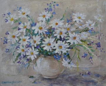 Caroline Barnett (Illsley) Acrylic Painting Still Life Of Daisies Flowers